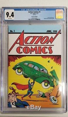 Action Comics # 1 Cgc 9.4 Caisse De Billets De Bande Dessinée Variante Exclusive Superman 2017