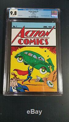 Action Comics # 1 Cgc 9.8 Pages Blanches Caisse De Butin Juin 1938 Réimpression 1ère Application Superman