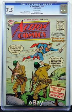 Action Comics # 205 Cgc 7.5 Superman 1954 War Cover 3e Plus Classé