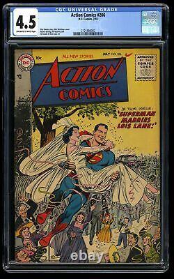 Action Comics # 206 Cgc Vg + 4,5 Off White White Lois Lane Rêve De Mariage