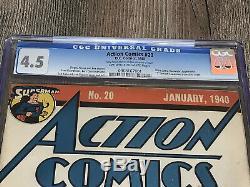 Action Comics 20 Cgc 4.5 Vg + DC 1940 Ultra Humanite S Évacuez La Poitrine De Superman