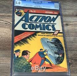 Action Comics 20 Cgc 5.0 DC 1940 Ultra Humanite S Gauche De La Poitrine De Superman