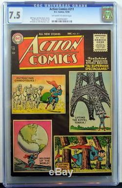 Action Comics # 211 Cgc 7.5 Superman 1955 2nd Highest Copie Graded