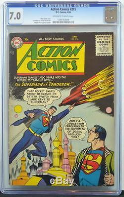 Action Comics # 215 Cgc 7.0 Superman 1956 4ème Édition Classée La Plus Élevée