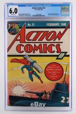 Action Comics # 21 Cgc 6.0 Fn DC 1940 -superman- Une Application Ultra-humanite