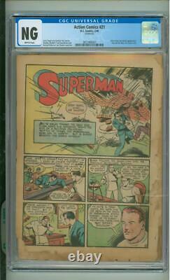Action Comics #21 Cgc Ng Coverless Ultra (ultra-humanite) App 1940