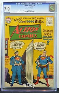 Action Comics # 222 Cgc 7.0 Superman 1956 Couverture Grand