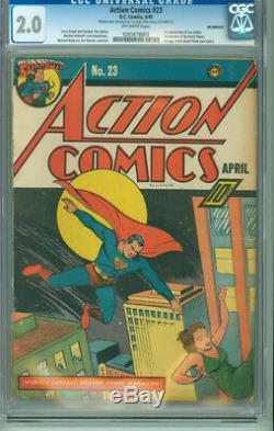 Action Comics 23 Cgc 2.0 Gd Inc. DC 1940 1ère Apparition Lex Luthor Daily Planet