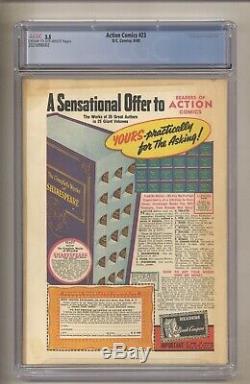 Action Comics 23 (cjc 3.5) 1er App Lex Luthor! 4/1940, DC Comics Superman C / Ow