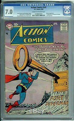 Action Comics # 241 Cgc 7.0 1ère Application De Forteresse De Solitude (fort Superman) 1958