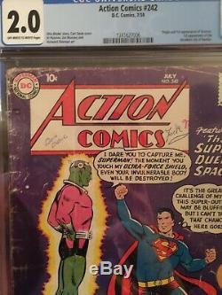 Action Comics # 242 Cgc 2.0 Avec La Clé 1ère Ville Cérébrale Et Réduite De Kandor