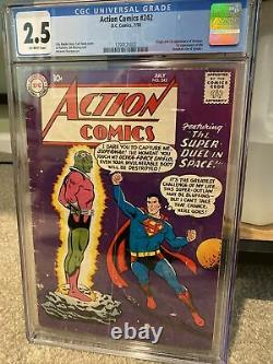 Action Comics #242 Cgc 2.5 Ow 1958 1ère Application. Et Origine Braniac, Kandor