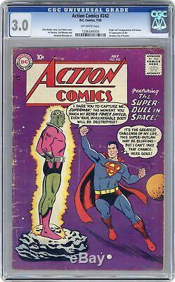 Action Comics # 242 Cgc 3.0 1958 1206349004 1ère Application. Et Origine Braniac, Kandor