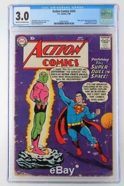 Action Comics # 242 Cgc 3.0 Gd / Vg DC 1958 -superman- 1er App / Origine Brainiac