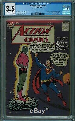 Action Comics # 242 Cgc 3.5 1er Brainiac Cr / Ow 1958 Pgs
