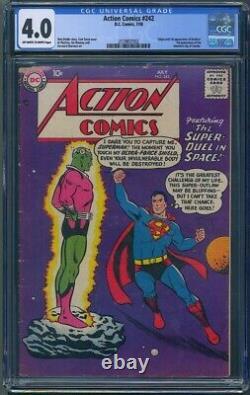 Action Comics # 242 Cgc 4.0 Owithwp Vg Apparition 1er Brainiac & Kandor
