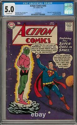 Action Comics #242 Cgc 5.0 (ow) Origine & 1ère Apparition De Braniac Kandor