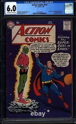 Action Comics 242 Cgc 6.0 Oww Silver Age Clé DC Comic 1er App Brainiac Igkc L @@ K
