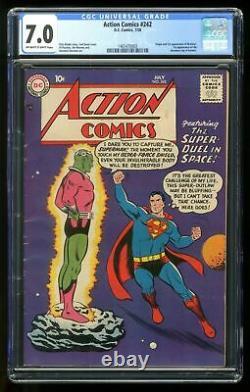 Action Comics #242 Cgc 7.0 1958 1465470003 1ère Application. Et Origine Braniac, Kandor