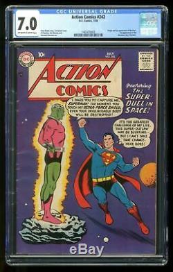 Action Comics # 242 Cgc 7.0 1958 1465470003 1ère Application. Et Origine Braniac, Kandor