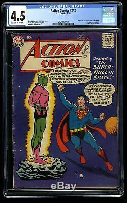 Action Comics # 242 Cgc Vg + 4,5 Crème À Blanc Cassé 1er Braniac! Kandor