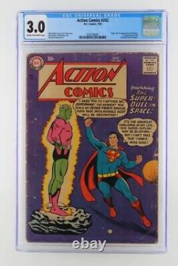 Action Comics #242 DC 1958 Cgc 3.0 1ère Apparition Et Origine De Brainiac. 1er