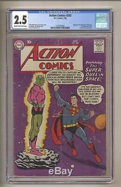 Action Comics 242 (cgc 2.5) C / Ow Pages 1ère Application Brainiac! 1958 DC Bd (j 125)