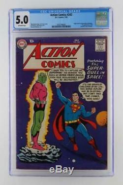 Action Comics # 242 -cgc 5.0 Vg / Fn -dc 1958 -superman- 1ère Application & Origin Brainiac