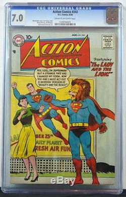 Action Comics # 243 Cgc 7.0 Superman 1958 Histoire De La Belle Et La Bête