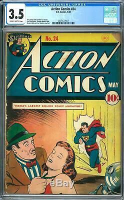 Action Comics # 24 Cgc 3.5 (sb) Couverture Joe Shuster / Art
