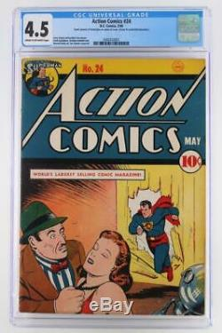 Action Comics # 24 Cgc 4.5 Vg + -dc 1940- Superman