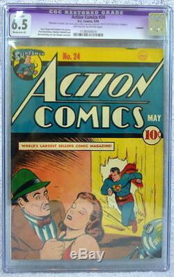 Action Comics # 24 Cgc 6.5 Superman Couverture 1940 Shuster Clark Kent Chez Daily Planet