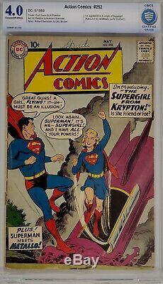Action Comics # 252 Cbcs 4.0 Superman 1er Supergirl Metallo Non Cgc