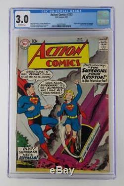 Action Comics # 252 Ccg 3.0 Gd / Vg DC 1959 - Première App Superman Supergirl & Metallo