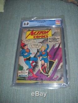 Action Comics # 252 Cgc 1959 3.0 Silver Age 1er Apparence Supergirl Frais Slab