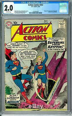 Action Comics # 252 Cgc 2.0 (ow) Origine Et 1ère Apparition De Supergirl