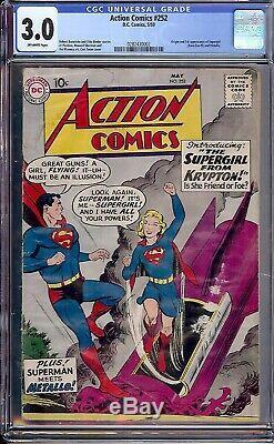 Action Comics # 252 Cgc 2.5 1er App Supergirl Origine 1959 Mega-clé DC Centré