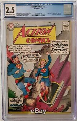 Action Comics 252 - Cgc 2.5 Bon + - D'abord Supergirl! 1959