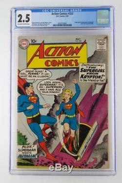 Action Comics # 252 Cgc 2.5 Gd + DC 1959 -superman- 1ère Application Supergirl & Metallo