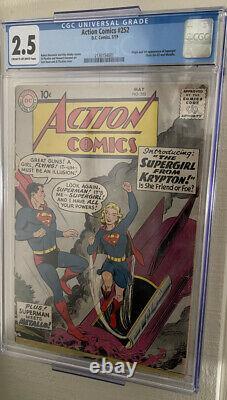 Action Comics 252 Cgc 2.5 Origine & 1ère Apparition De Supgergirl & Metallo