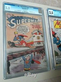 Action Comics # 252 Cgc 2.5 Superman # 123 Cgc 2.5 Les Deux 1st Supergirl