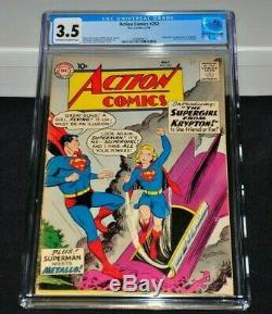 Action Comics 252 Cgc 3.5 Blanc Cassé À Blanc Pages 1959 1er Supergirl