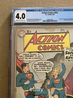Action Comics # 252 Cgc 4.0 1ère Apparence & Origine De Supergirl Metallo 1959