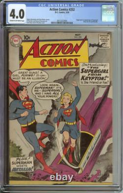 Action Comics #252 Cgc 4.0 Cr/ow Pages // Origine + 1ère Apparition Supergirl 1959