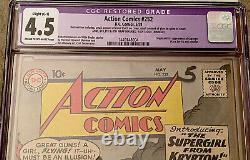 Action Comics #252 Cgc 4.5 C/ow (c-1) 1ère Application De Supergirl & Metallo Color Touch