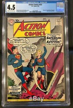 Action Comics # 252 Cgc 4.5 (c-ow) 1er Apparition De Supergirl Et Metallo -dc 1959