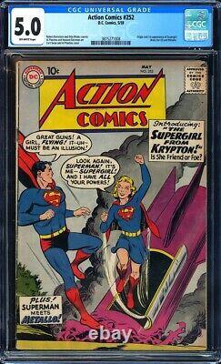 Action Comics #252 Cgc 5.0 1ère Apparition De Supergirl (kara Zor-el) L@@k