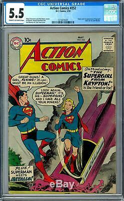 Action Comics # 252 Cgc 5.5 (c-ow) 1ère Application D'origine De Supergirl Metallo