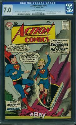 Action Comics 252 Cgc 7.0 DC F / Vf 1959 Superman: Première Apparition De Supergirl