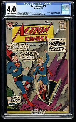 Action Comics # 252 Cgc Vg 4.0 1er Supergirl! Superman